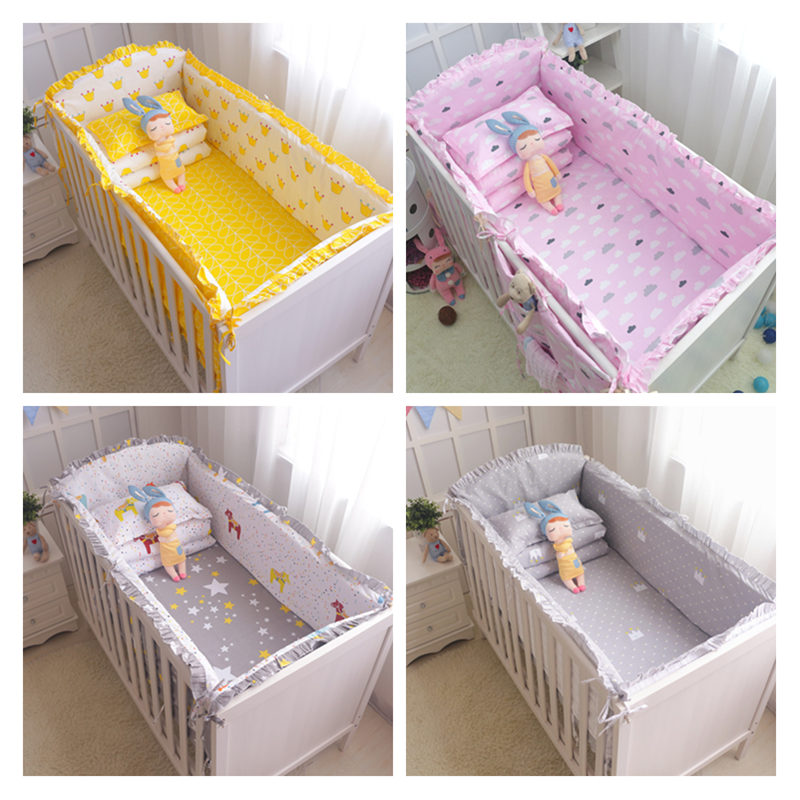5pcs Baby Crib Bumper Soft Breathable Cotton Bed Protector For Kids Crotch To The Cot Bedding Set For Children