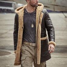 Мужская куртка из овчины из натуральной кожи, Толстая шерстяная флисовая куртка с капюшоном, зимняя уличная кожаная куртка, Мужская куртка