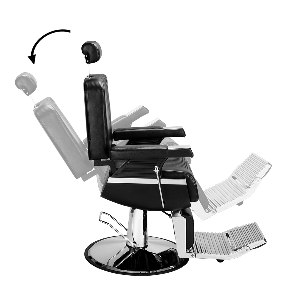 【US Warehouse】Men's Hairdressing Chair High-End Reclining Chair Black
