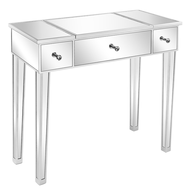 Flip Glass Mirrored Makeup Table Dressing Desk Dresser Anti-Scratch and Rust-Free Easy Assemble Clean[US-Stock] 3