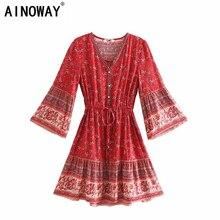 Vintage chic kadınlar hippi çiçek baskı püskül v yaka Bohemian mini elbise yaz bayanlar flare kollu Boho elbiseler vestidos