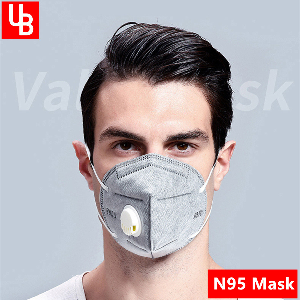 N95 Mask Adult Vertical Nonwoven Air Valved Anti COVID Virus Dust Mask PM 2.5 Respirator Mouth Mask With Valve Gauze filter Mask