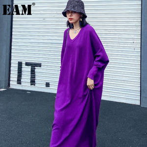 [EAM] Women Purple Brief Knitting Big Size Long Dress New V-Neck Long Sleeve Loose Fit Fashion Tide Autumn Winter 2020 1DA103