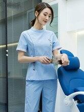 Nurse service female summer short sleeve split suit beauty salon thin tailored oral plastic surgeon uniform high-end
