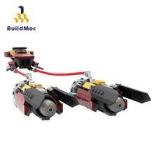 Buildmoc Star Movie Land sterowiec Mandalorians Marshall's Podracer Speeder Bike Mini plany Model klocki zabawki dla dzieci prezenty