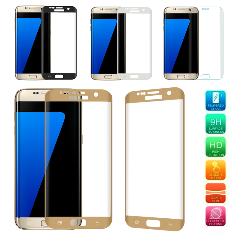 New 9H Strong 3D Curved Full Cover Color Screen Protective Cover Silk Tempered Glass Film For Samsung Galaxy S7 Edge image