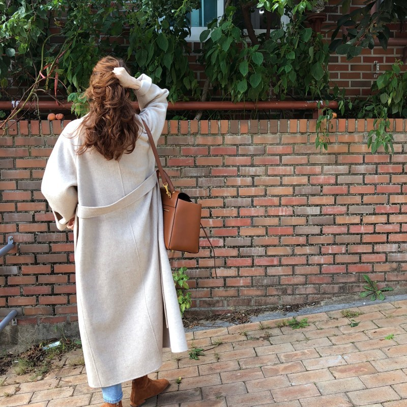 19 Winter Oversize Long Trench Coat Women Cashmere Coat Korean Lady Windbreaker Outwear Streetwear 59