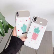 IMIDO Cactus Anti-fall  Mirror Silicone PC Case For Huawei p20 pro p30 mate 20 Cute Cartoon Fashion Back Cover
