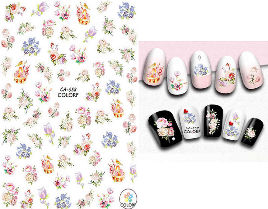 Florals Nails Art Manicure Terug Lijm Decal Decoraties Ontwerp Nail Sticker Voor Nagels Tips Beauty
