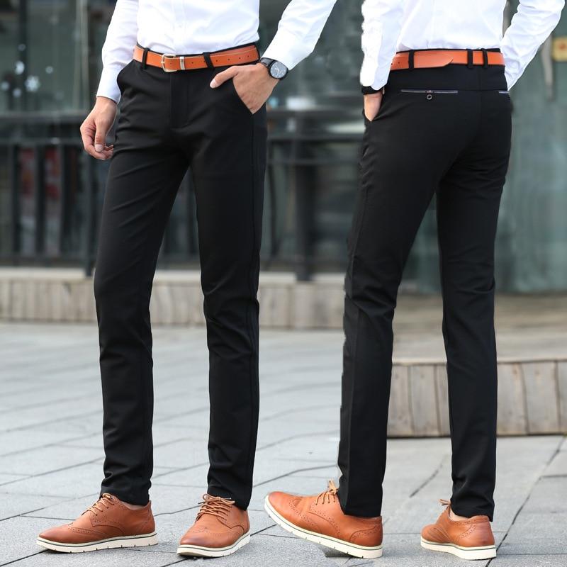Autumn And Winter Thick Plus Velvet Casual Pants Men's Fashion Business Men's Trousers Elasticity Slim Fit Straight-leg Pants No