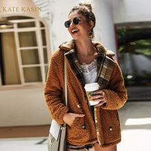 Kate Kasin Women's Casual Faux Fur Coat Teddy Bear
