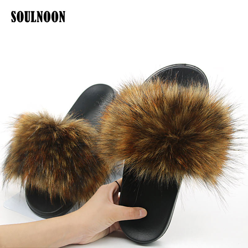 Women Faux Fur Slippers Cute Furry Plush Flip Flops Flat Non-slip Woman's Indoor Warm Slides Girls Outside Casual Shoes Slippers