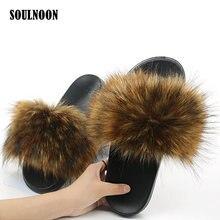 Women Faux Fur Slippers Cute Furry Plush Flip Flops Flat Non-slip Woman's Indoor Warm Slides Girls Outside Casual Shoes Slippers цена