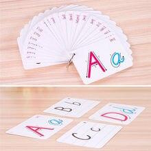 26 list angielski Flash Card litera alfabetu deska odręczna z klamrą zabawki edukacyjne Montessori dla dzieci uczących się angielskiego