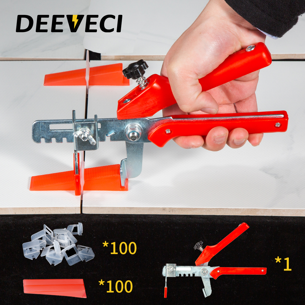 100 Clips 100 Wedges Tiling Flooring Tools Wedges Clips 200pcs Plastic Ceramic Tile Leveling System Used In 3~12mm Tiles