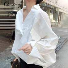 Women Tops and Blouses Celmia 2021 Fashion Bat Sleeves White Shirts Sexy V-Neck Solid Casual Loose Blusas Tunic Femininas 5XL 7