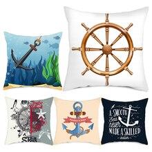 Fuwatacchi Anchor Rudder Cushion Cover Sea Blue Printed Pillow for Home Chair Sofa Decorative Pillows 45*45cm