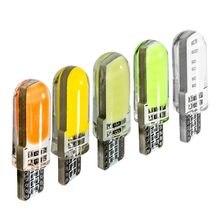 10 pces t10 w5w silicone caso 12 chips cob led carro cunha interior dome luz de leitura wy5w auto estacionamento lâmpadas led luzes para carro