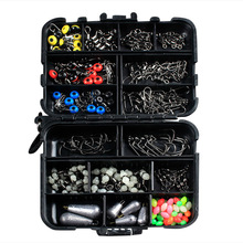 HOT 177 Pcs Fishing Accessories Hooks Swivels Lead Fishing Sinker with Ring Carp Fishing Tackle Set outkit 10pcs lot copper lead sinker weights 10g 7g 5g 3 5g 1 8g sharped bullet copper fishing accessories fishing tackle