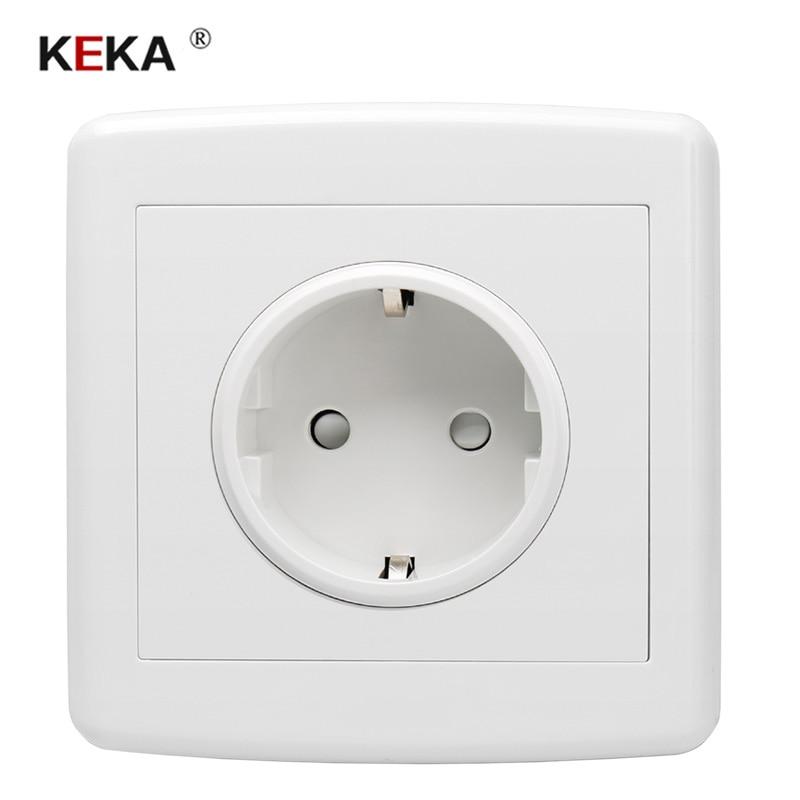 KEKA EU Standard Power Plug Socket , White Plastic Pc Panel, AC 110~250V 16A Wall Outlet Home Kitchen Socket 86mm*86mm