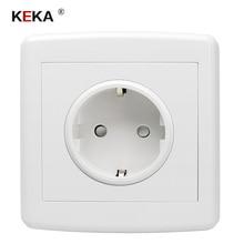 цена на KEKA EU standard power plug socket , white plastic pc panel, AC 110~250V 16A wall outlet home kitchen socket 86mm*86mm