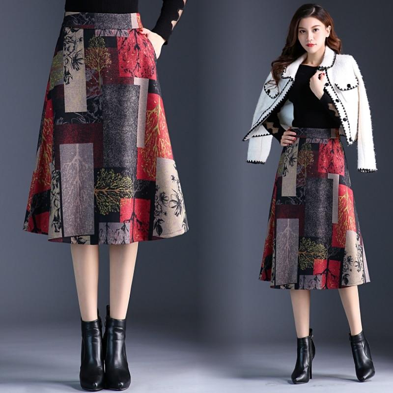 Autumn Winter Hairy Womens Skirt Korean Plus Size Skirts A-line High Waist Midi Office Women Fashion 2019