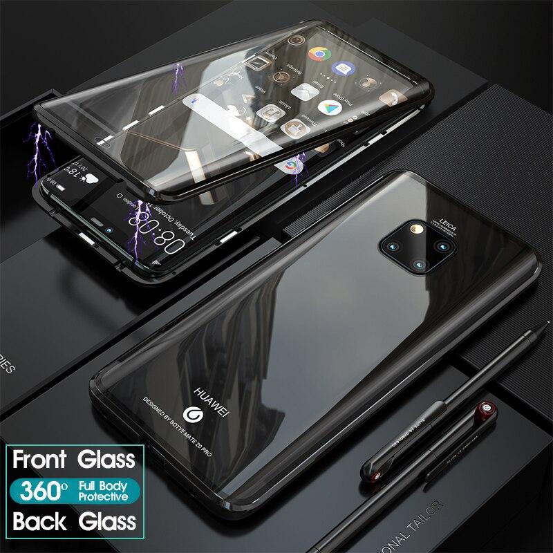 Magnético 360 Caso Completo Para Huawei Companheiro 20 Pro P30 Mate20 Concha de Metal Da Frente Para Trás Tampa de Vidro Temperado Huawei Companheiro 20 Pro Casos Em