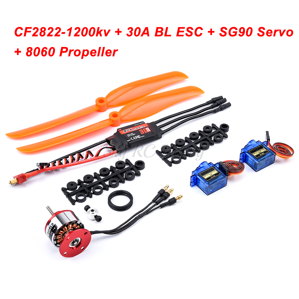 CF2822 1200kv with Prop saver Motor + 30A / 40A / 30A BLheli / 40A BL ESC + SG90 Servo + 8060 Propeller for RC Airplane Part image