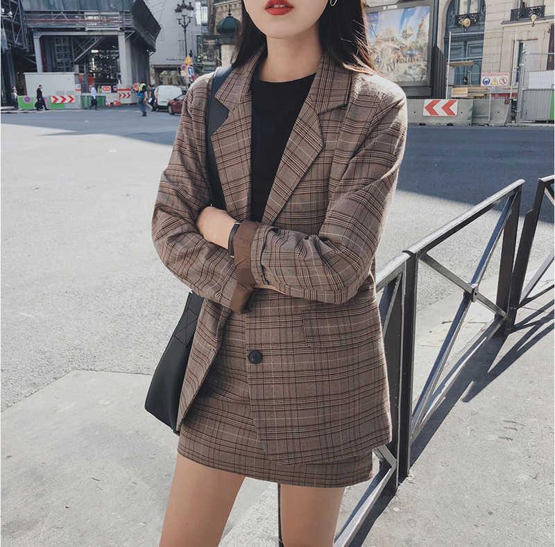 Mozuleva 2020 Retro Plaid Blazer Set Single-Breasted Jacket & Kokerrok 2 Stuks Rok Pak Vrouwelijke Kantoor Dames blazer Pak