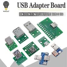 5 pces usb conector macho/mini micro usb para dip adaptador conector fêmea 2.54 conector b tipo-c usb2.0 3.0 conversor fêmea do pwb