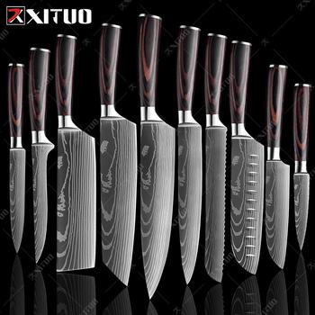 XITUO-Japońskie noże kuchenne 8 #8243 laserowy damaszkowy wzór nóż szefa kuchni ostre Santoku Cleaver krojenie narzędzie noże EDC nowy tanie i dobre opinie CN (pochodzenie) STAINLESS STEEL Ekologiczne Zaopatrzony 3 5 quot 5 quot 6 quot 7 8 quot chef knives Ce ue Lfgb Chef noże