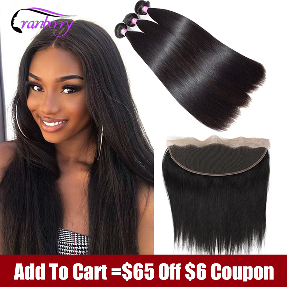 Cranberry 100%  Remy Straight Human Hair Bundles With Frontal Peruvian Hair Bundles With Closure 13X4 Lace Frontal With Bundles
