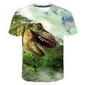 Футболка для мальчиков, летняя футболка с 3D принтом мультипликационных динозавров, мир, Детская забавная модная футболка в стиле Харадзюку,...