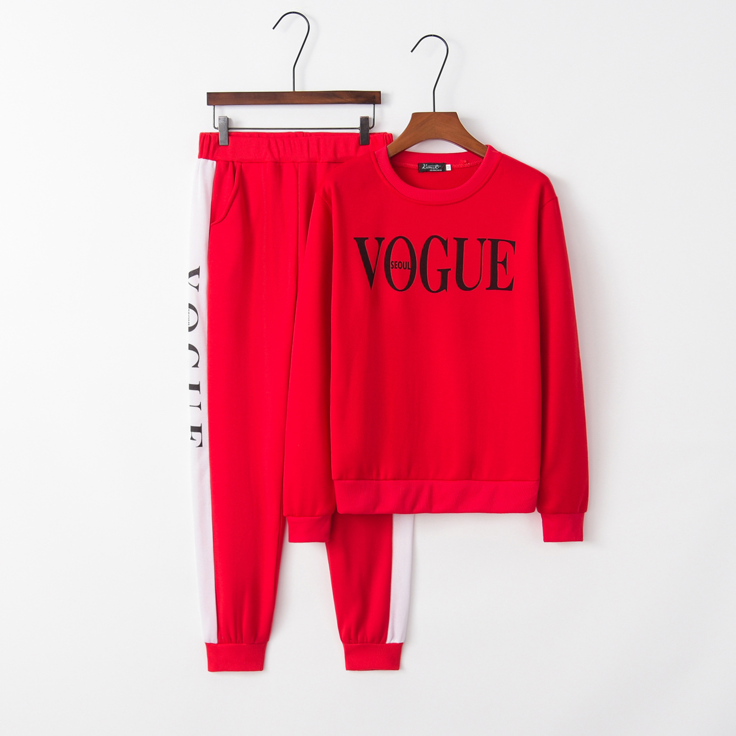 Letter Vogue Cute 2020 New Design Fashion Hot Sale Suit Set Women Tracksuit Two-piece Style Outfit Sweatshirt Sport Wear
