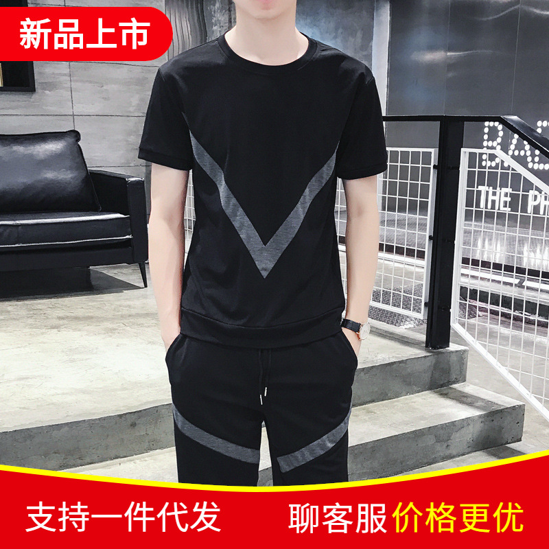 Hong Kong Style Men'S Wear 2019 New Style Summer Men Sports Leisure Suit Short Sleeve T-shirt Loose-Fit Shorts Two-Piece Set