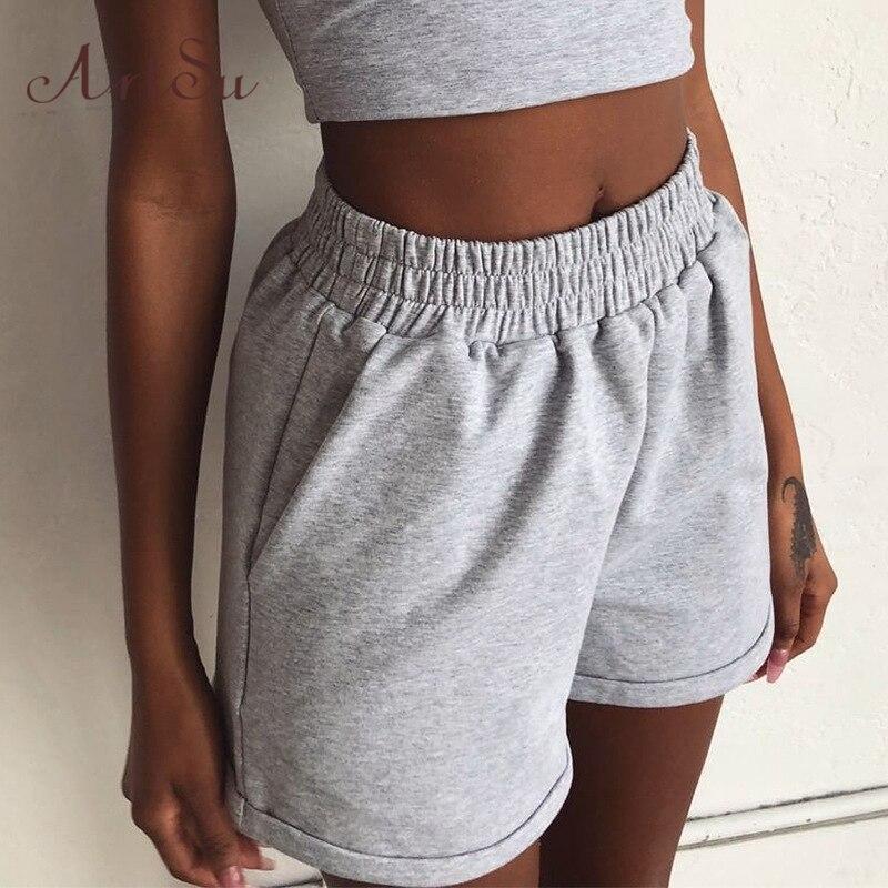Artsu 2020 Summer Women Clothes Solid Cotton Sport Casual Shorts Women Harajuku High Waist Shorts Short Pants Ladies ASSH60877