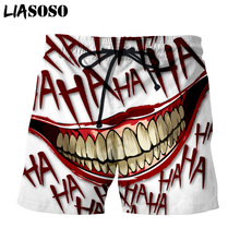 LIASOSO 3d Print Creative Joker Haha Men's Shorts Beach Casu
