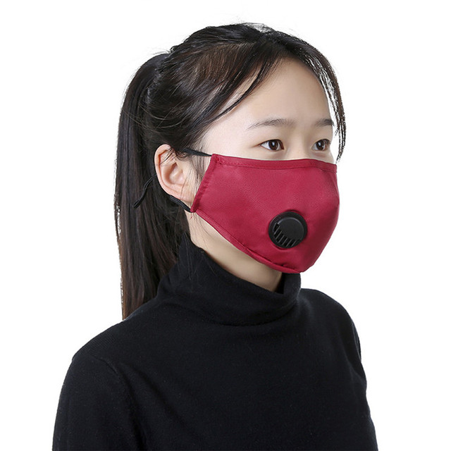 3D Face Mask Reusable Washable Adult men pm2.5 Anti flu Dust Bacteria Virus Breathable Valved Respirator Activated Carbon Filter 1