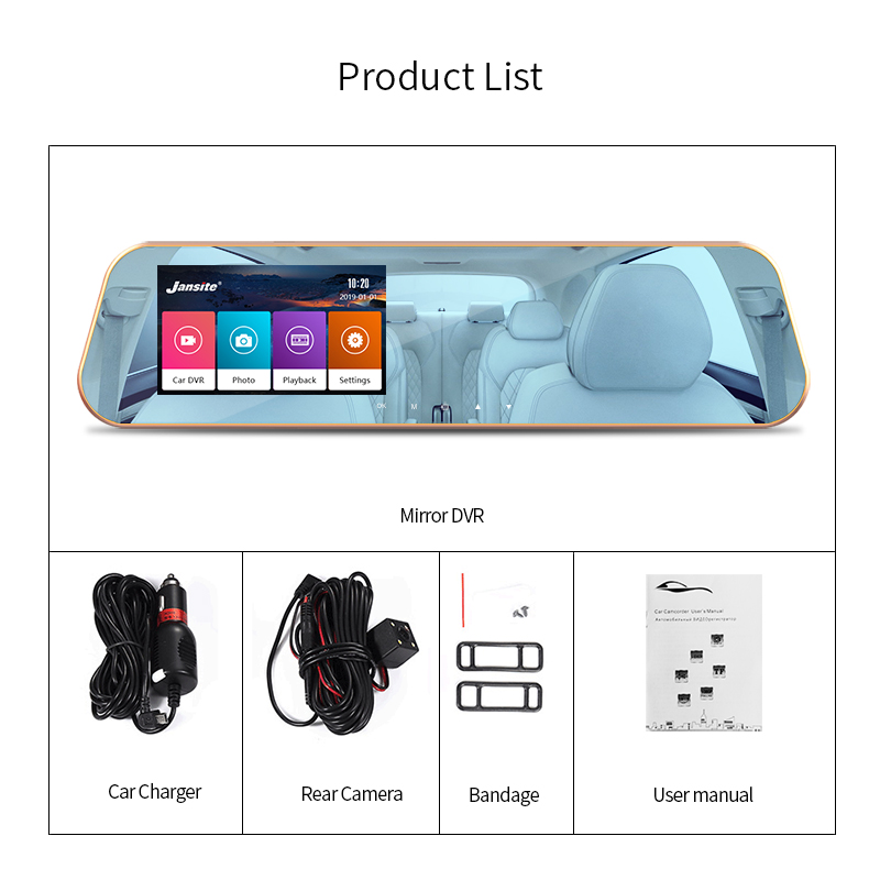 Image 5 - JMCQ Touchscreen Car DVR FHD Dual cameras rearview Car camera mirror Dashcam Auto Registrator record Automatic coverage G sensor-in DVR/Dash Camera from Automobiles & Motorcycles