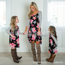 Family Matching Flower Print O-Neck Striped Long Sleeve Dress Mommy and Daughter High Waist Spring Summer Fall Dress NO28-35 kids striped and star flag print vest dress