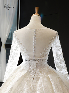 Image 4 - Liyuke Scooped Neckline Ball Gown Wedding Dress With Elegant Chapel Train Wedding Gown Full Sleeve