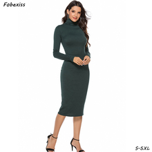 цена на Elegant Bodycon Party Dress Women Fall 2019 Long Sleeve Turtleneck Plus Size 5XL Midi Bandage Knitted Sweater Dress Office Lady