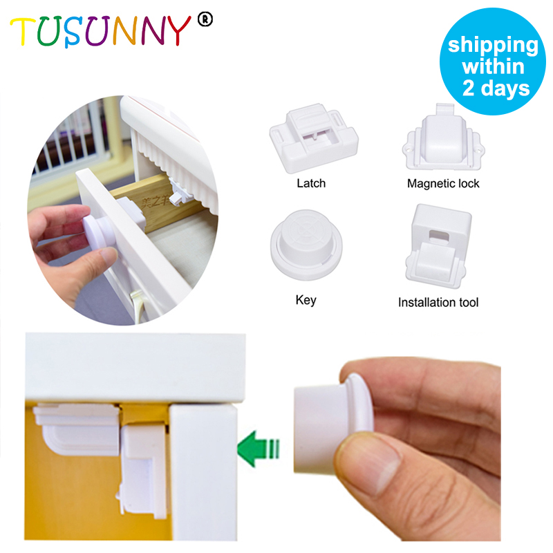 TUSUNNY 8+2/4+1PCS Magnetic Child Lock Baby Safety Baby Protection Cabinet Door Lock Kids Drawer Locker Security Invisible Locks
