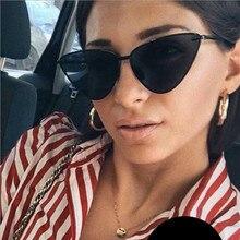 Gafas de sol de ojo de gato para mujer, gafas de sol transparentes con montura metálica envuelta Vintage para mujer UV400