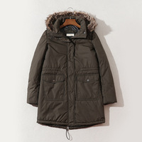 NE48 Waterproof Fabric WOMEN'S Wadded Jacket Winter Mid length Thick Deconstructable Hooded Windproof Parker Overcoat