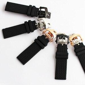 Сменный ремешок для часов, черный силиконовый каучук, 23 мм