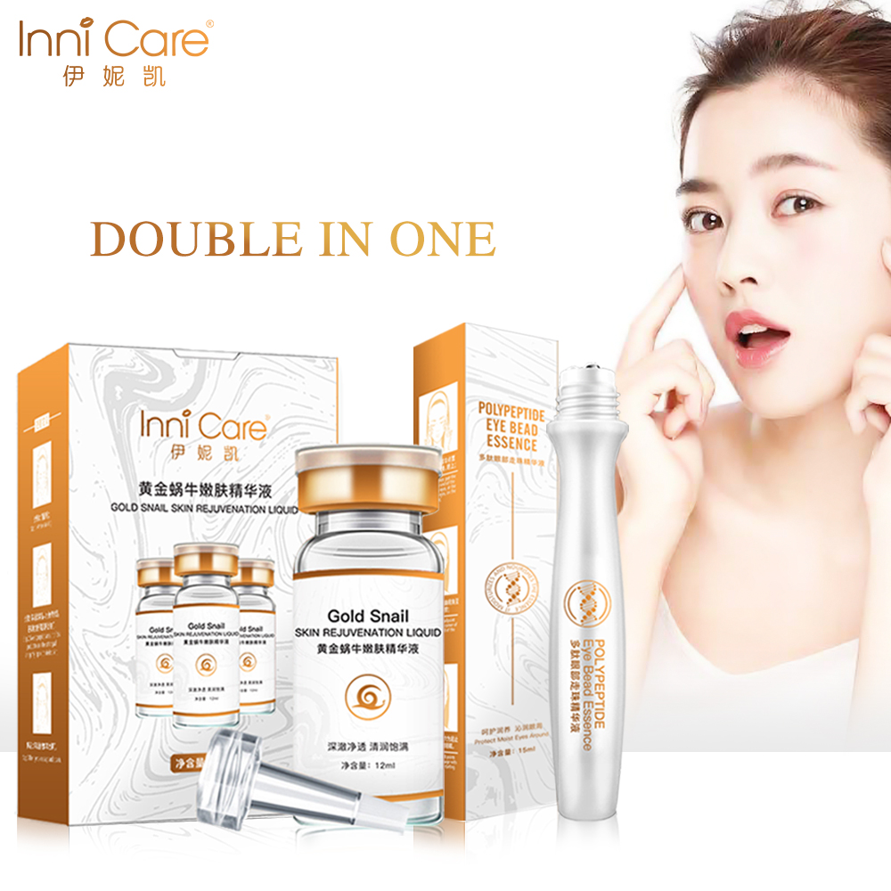 InniCare Snail Face Serum + Roll Eye Serum Anti Aging Wrinkle Facial Cream Anti Dark Circle Puffiness Eyes Essence Skin Care