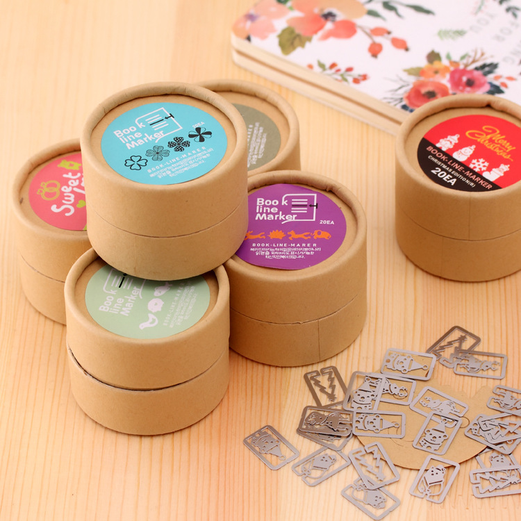 Cute Cartoon Animal Car Bike Bookmarks Lot Card Paper Clip Book Line Marker Metal Gift Craft Fancy Lovely Round Box Creative