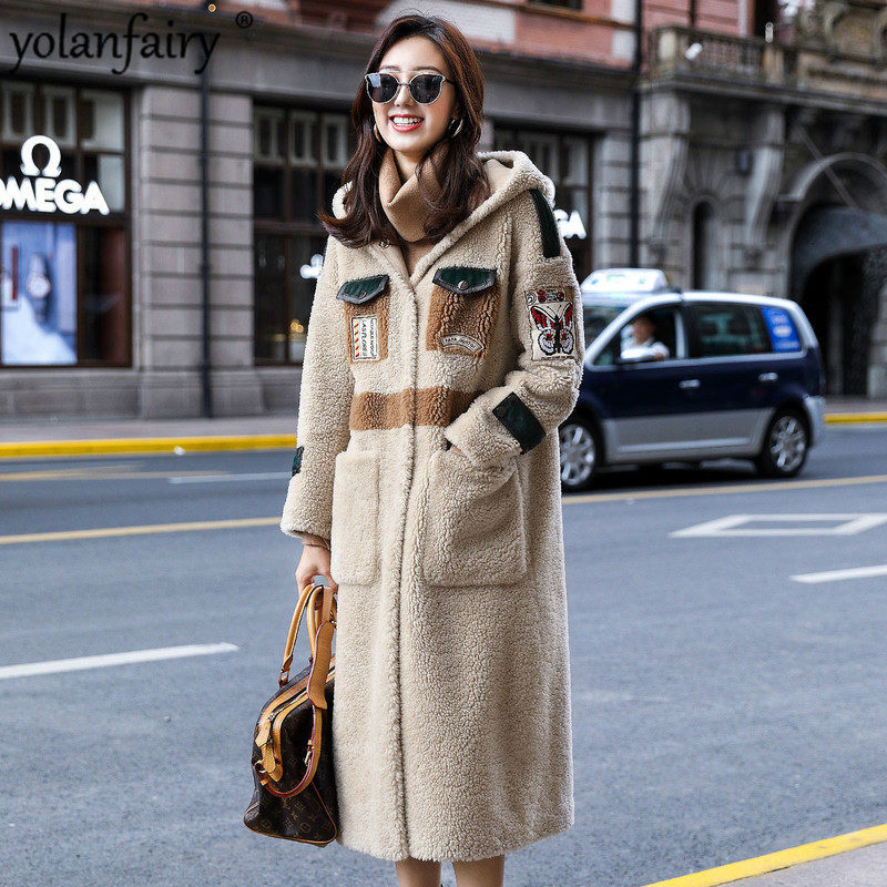 Winter Coat Women Sheep Shearling Real Fur Coat Women Clothes 2020 Korean Long Jacket Windbreaker Manteau Femme F8160 YY1023
