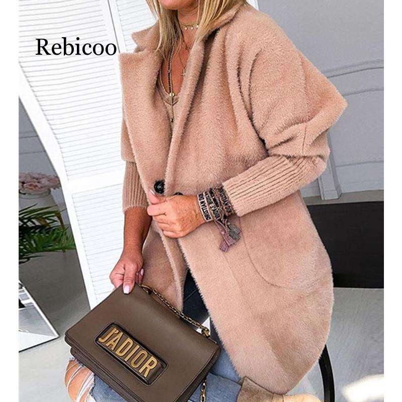 Women Winter Warm Khaki Solid Fluffy Open Front Long Coat Soft Outwear Women Warm Jacket Thicken Version